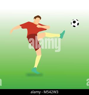 High Kick Football Soccer Player Vector Illustration Graphic Design - Stock Photo
