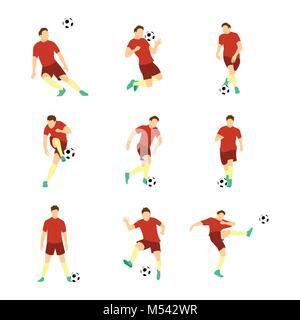 Various Football Soccer Player Vector Illustration Graphic Design Set - Stock Photo