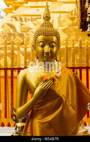 Buddha golden Statue in Doi Suthep Temple - Stock Photo