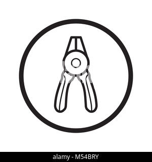 Linear Round nose pliers icon - vector iconic design - Stock Photo