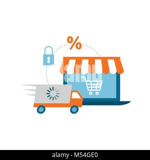 Laptop with e-shop and truck: online shopping, logistics and e-commerce concept - Stock Photo