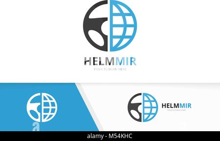 Vector car helm and planet logo combination. Steering wheel and world symbol or icon. Unique rudder and globe logotype - Stock Photo