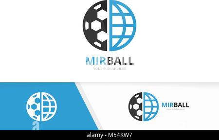 Vector soccer and planet logo combination. Ball and world symbol or icon. Unique football and globe logotype design - Stock Photo