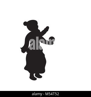 Silhouette girl winter girl throws snow - Stock Photo