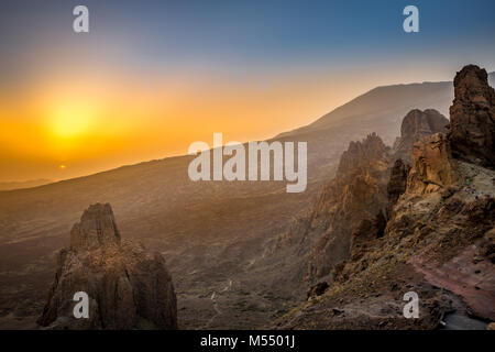 Aerial View of Landscape with Rocks in Teide National Park during Sunset, Tenerife, Spain, Europe - Stock Photo