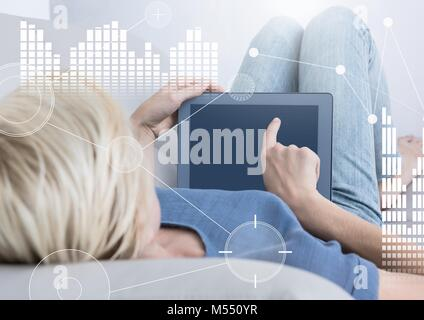 Business Overlay Interface with woman and tablet - Stock Photo