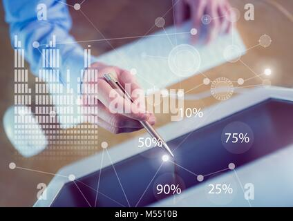 Business Overlay Interface with business person and computer - Stock Photo