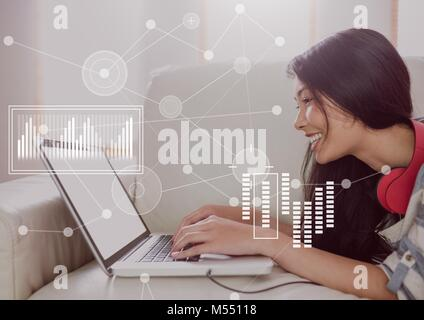 Business Overlay Interface with businesswoman and laptop - Stock Photo