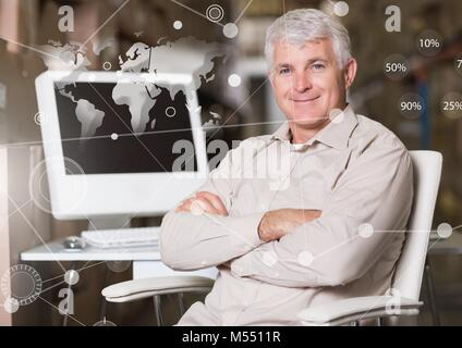 Business Overlay Interface with businessman and computer and world map - Stock Photo