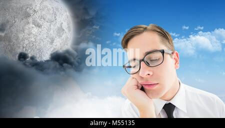 Tired man and Day and night moon cloudy sky contrast transition - Stock Photo