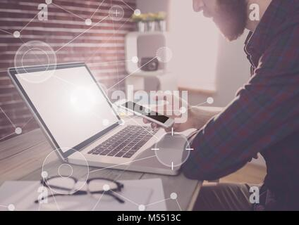 Business Overlay Interface with businessman and phone and laptop - Stock Photo