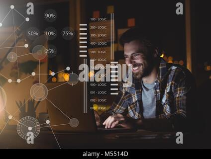 Business Overlay Interface with man and laptop computer - Stock Photo