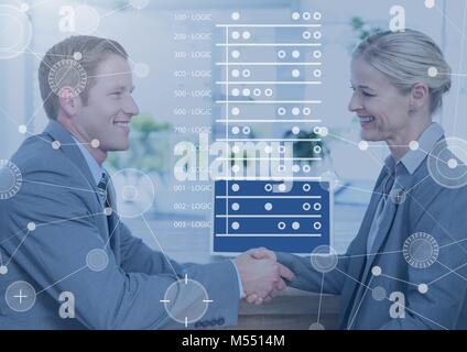 Business Overlay Interface with business people and computer - Stock Photo