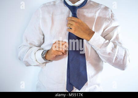 15ab53e870a8 ... People, business, fashion and clothing concept - close up of man in  shirt dressing