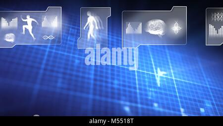 Human health and fitness interface and glowing grid background - Stock Photo