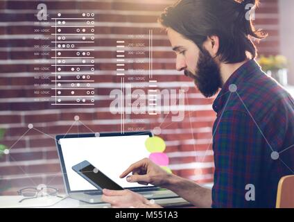 Business Overlay Interface with businessman and tablet - Stock Photo