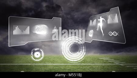 Human health and fitness interface and green sports field background - Stock Photo