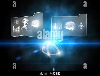 Human health and fitness interface and glowing background - Stock Photo