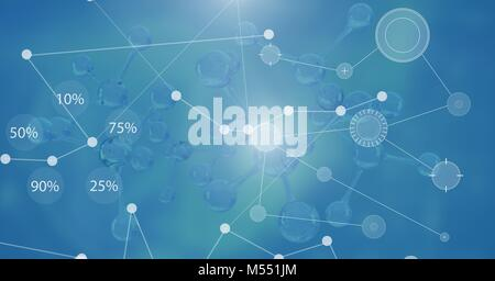 Interface overlay of connection statistics graphics with science background - Stock Photo