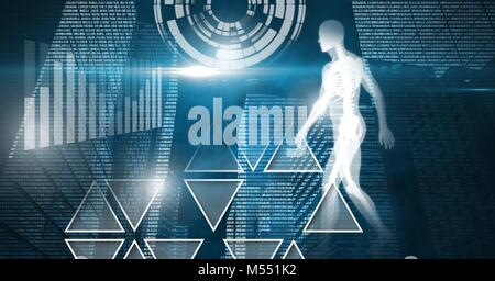Human health and fitness interface and technology background - Stock Photo