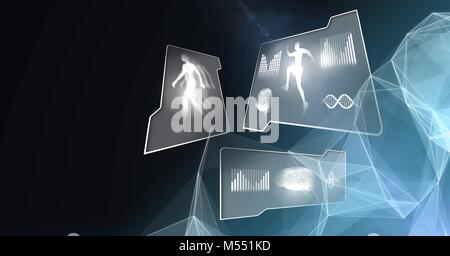 Human health and fitness interface and polygon shapes glowing background - Stock Photo