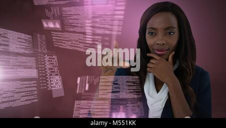 Businesswoman touching screen text interface - Stock Photo