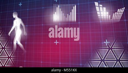 Human health and fitness interface and grid technology background - Stock Photo
