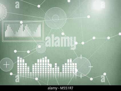 Interface overlay of connection statistics graphics with green background - Stock Photo