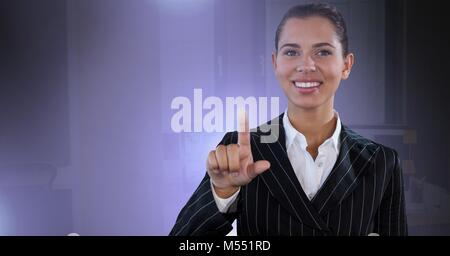 Businesswoman touching air glow - Stock Photo