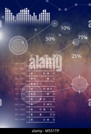 Interface overlay of connection statistics graphics with grunge background - Stock Photo