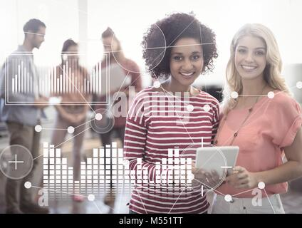 Business Overlay Interface with women and laptop - Stock Photo