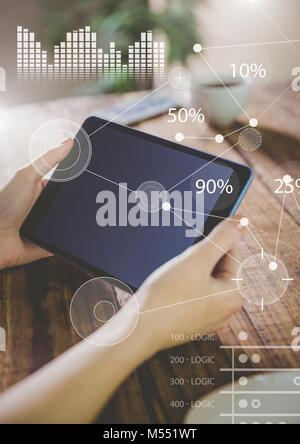 Business Overlay Interface with hands and tablet - Stock Photo