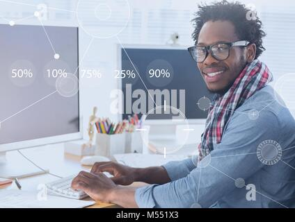 Business Overlay Interface with businessman and computer - Stock Photo