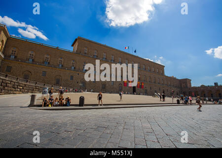 FLORENCE (FIRENZE), JULY 28, 2017 - View of Pitti Palace in Florence (Firenze), Tuscany, Italy. - Stock Photo