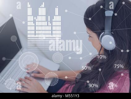 Business Overlay Interface with woman wearing headset earphones and laptop - Stock Photo