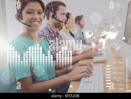 Business Overlay Interface with customer service people and computers - Stock Photo