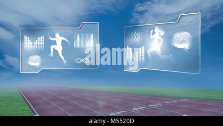 Human health and fitness interface and running track background - Stock Photo