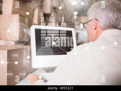 Business Overlay Interface with elderly businessman and computer - Stock Photo