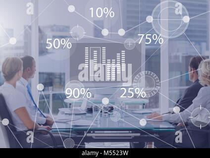 Business Overlay Interface with business people in office at board meeting - Stock Photo
