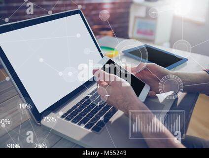 Business Overlay Interface with hands and laptop - Stock Photo
