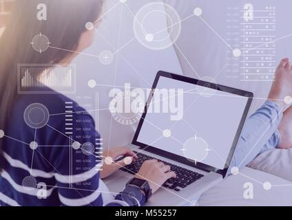Business Overlay Interface with woman and laptop - Stock Photo