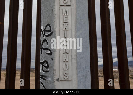 Border Wall on USA-Mexico border between Ciudad Juarez, Chihuahua and El Paso, Texas from the Mexican side, 2018. - Stock Photo