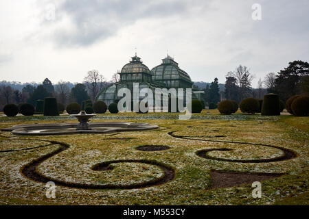 Vienna, Austria - February 18th 2018: The Palmenhaus Schönbrunn / Schönbrunn palm house in the grounds of Schönbrunn - Stock Photo