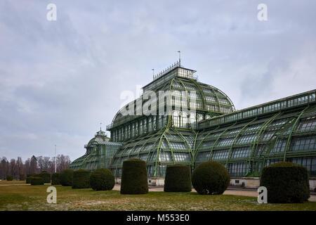Vienna, Austria - February 18th 2018: The Palmenhaus Schönbrunn / Schönbrunn palm house in the grounds of Schönbrunn - Stock Photo