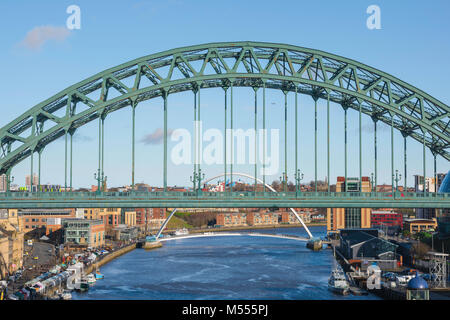 Newcastle upon Tyne, view of the central section of the landmark Tyne Bridge spanning the River Tyne in Newcastle, - Stock Photo