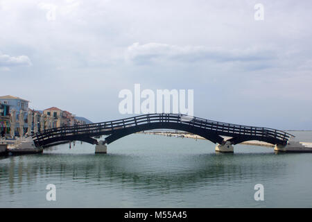 Wooden bridge of Lefkas (Lefkada) town in Greece - Stock Photo