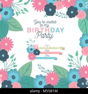 happy birthday party invitation with floral decoration - Stock Photo