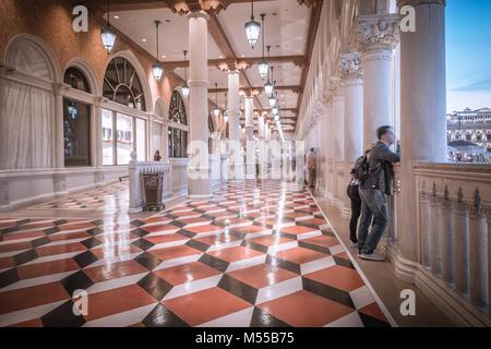 fancy luxurious lobby balcony at venetian las vegas - Stock Photo