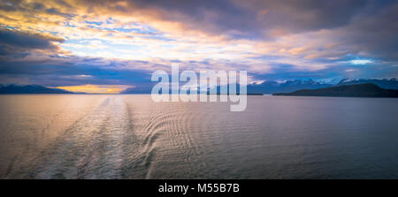 mud bay alaska sunset in summer - Stock Photo