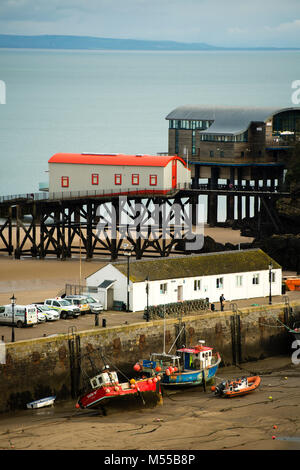 The old and new RNLI lifeboat stations at Tenby, Wales UK - Stock Photo